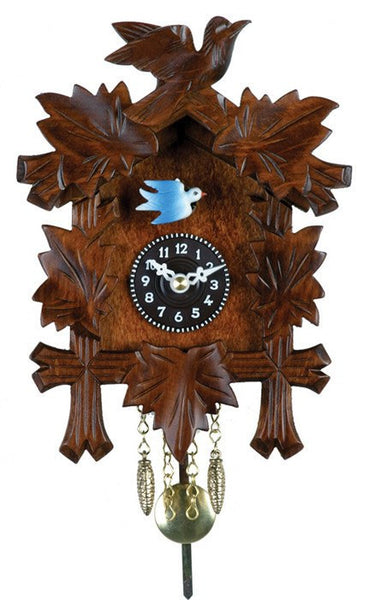 "River City Clocks 7"" Quartz Clock with Five Leaves and One Bird - GermanGiftOutlet.com"