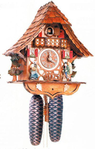 "Schneider 12"" Black Forest Girl and Clock Peddler German Cuckoo Clock - GermanGiftOutlet.com"