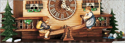 "Schneider Black Forest 13"" Musical Children on Teeter Totter Eight Day Movement German Cuckoo Clock - GermanGiftOutlet.com  - 3"