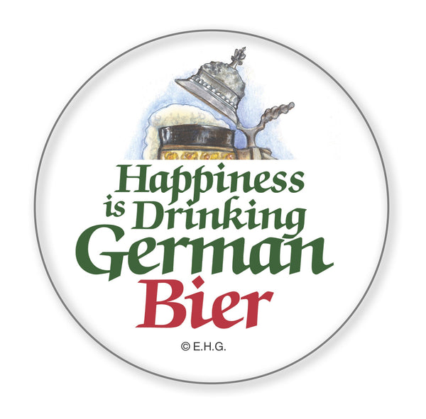 Metal Button. Happiness Is Drinking German Bier - GermanGiftOutlet.com  - 1