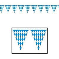 Oktoberfest Bavarian Flag Pennant Banner 11 Inches by 12 Feet - GermanGiftOutlet.com