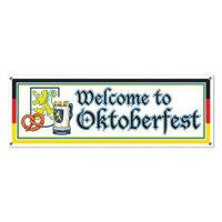 Welcome to Oktoberfest Sign Banner, 5-Feet by 21-Inch - GermanGiftOutlet.com