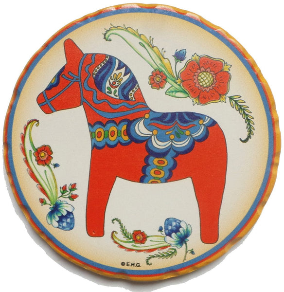 Ceramic Coaster Swedish Red Dala Horse - GermanGiftOutlet.com  - 1