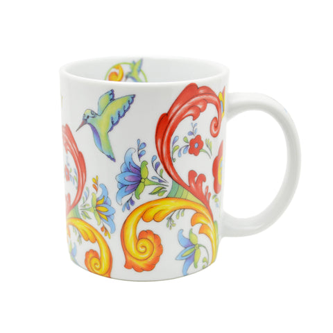 Rosemaling White Design Ceramic Coffee Mug - 1 - GermanGiftOutlet.com