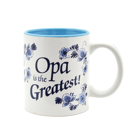 """Opa is the Greatest"" / Blue Ceramic Coffee Mug - GermanGiftOutlet.com"
