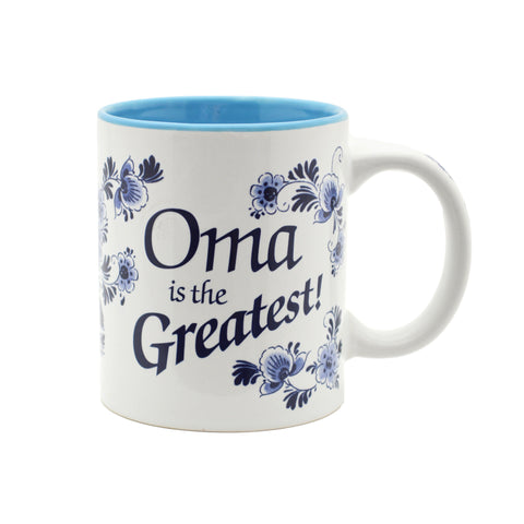 """Oma is the Greatest"" / Blue Ceramic Coffee Mug - GermanGiftOutlet.com"