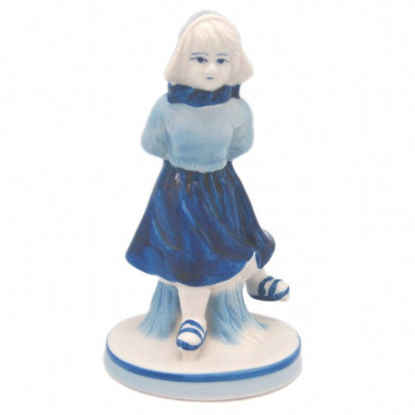 Blue and White Figurine: Dutch Girl Skater - GermanGiftOutlet.com  - 1