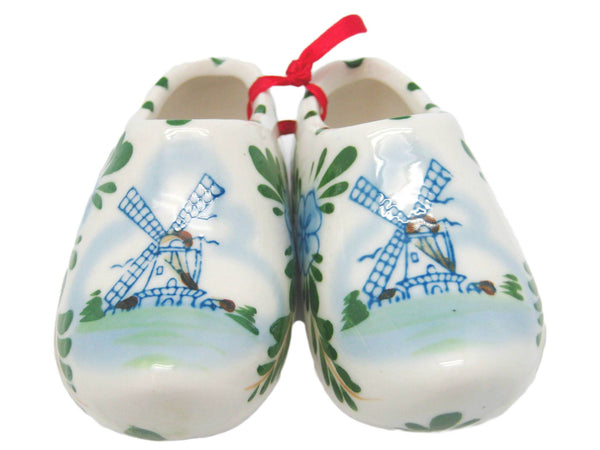 Colorful Ceramic Wooden Shoes Pair with Windmill Design - GermanGiftOutlet.com  - 1