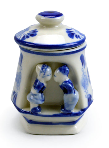 Ceramic delft small kissing couple jar - GermanGiftOutlet.com