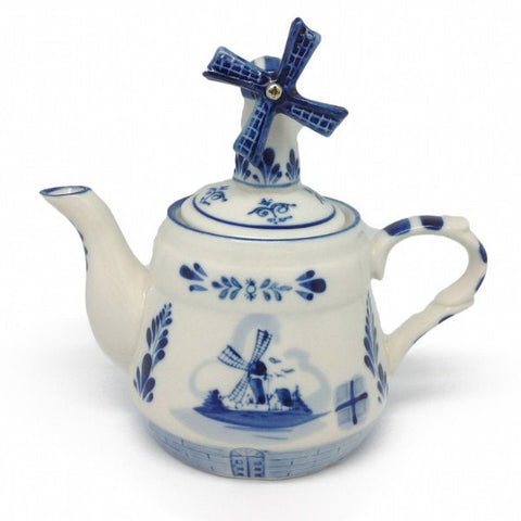 Blue Tea Pot with Windmill Lid - GermanGiftOutlet.com  - 1