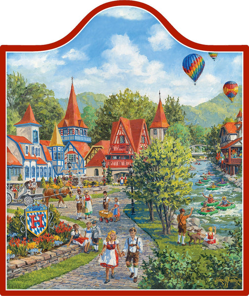 Alpine Village Scene Decorative Trivet German Gift Idea - 1 - GermanGiftOutlet.com