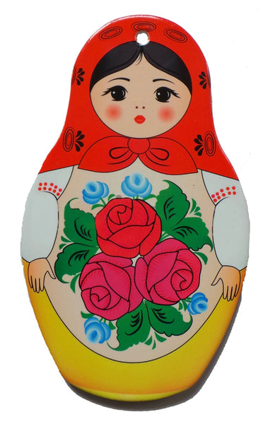 Nesting Doll with Red Scarf Decorative Trivet - 1 - GermanGiftOutlet.com