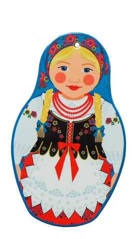 Nesting Doll with Blue Scarf Decorative Trivet - 1 - GermanGiftOutlet.com