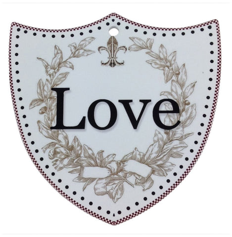 Ceramic Decoration Shield: Love - GermanGiftOutlet.com  - 1
