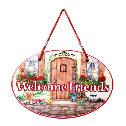 """Welcome Friends"" Decorative Door Sign"