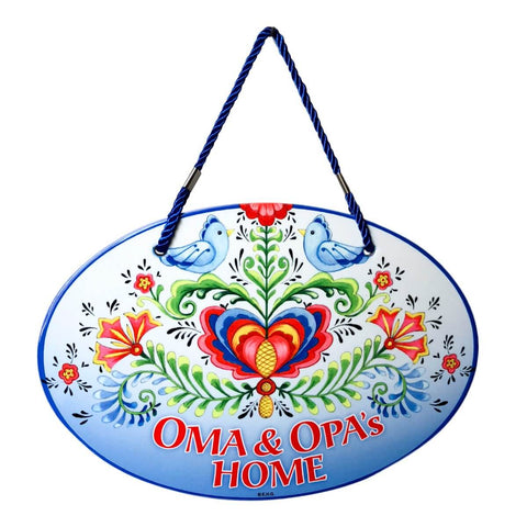 Oma & Opa's House Ceramic Door Sign Rosemaling Design