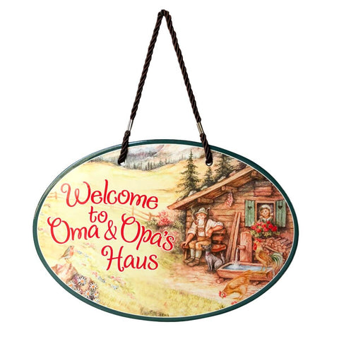 Oma & Opa's House Ceramic Door Sign Alpine Design-DT07