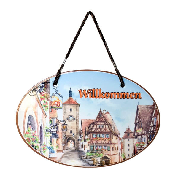 "German ""Willkommen"" Ceramic Door Sign"
