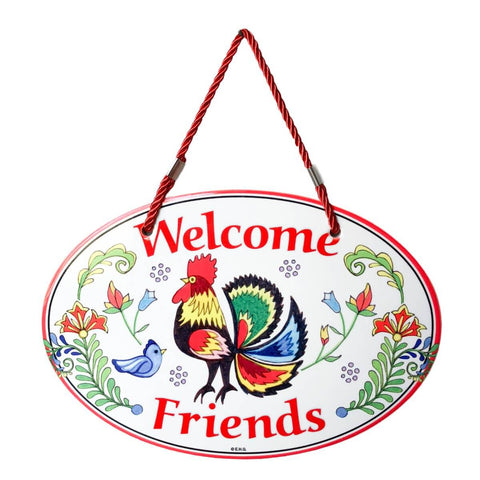 """Welcome"" Rooster Decorative Door Sign"