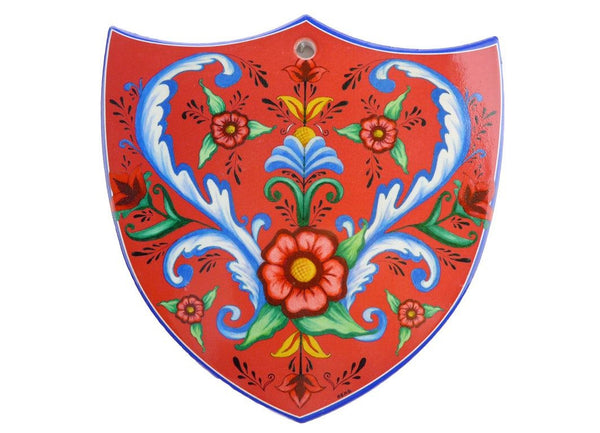 Ceramic Decoration Shield: Flowers - GermanGiftOutlet.com - 1
