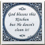 Inspirational Wall Plaque: God Blesses Kitchen.. - GermanGiftOutlet.com  - 1