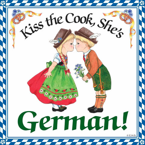 German Gift Ceramic Wall Plaque: Kiss German Cook