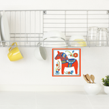Wall Tile Design Red Swedish Dala Horse