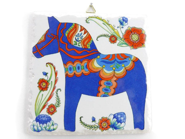 Ceramic Deluxe Plaque: Blue Dala Horse - GermanGiftOutlet.com - 1