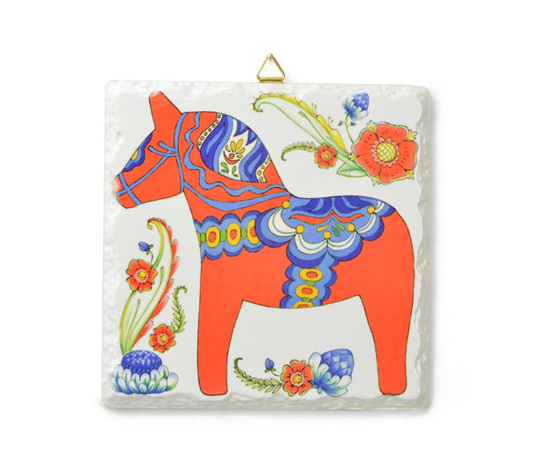 Ceramic Deluxe Plaque: Red Dala Horse - GermanGiftOutlet.com - 1