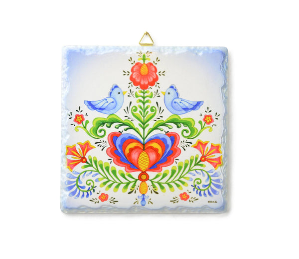 Ceramic Deluxe Plaque: Lovebirds - GermanGiftOutlet.com - 1