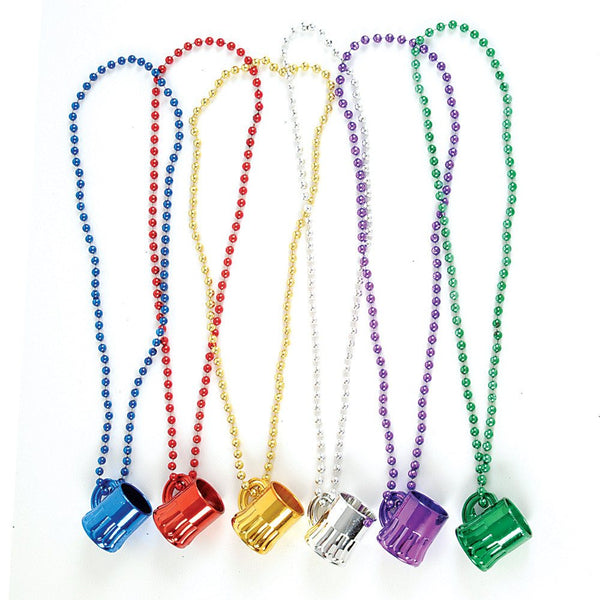 Metallic Colored Plastic Beer Mugs Necklace (12 pack) - GermanGiftOutlet.com