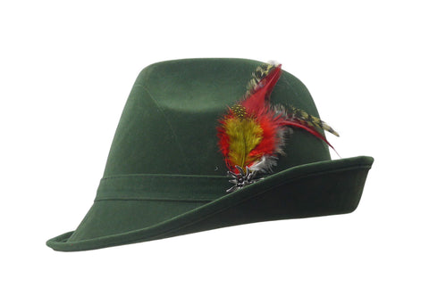 """German Hunter"" Green Hat Fedora With Edelweiss & Feather-HA12"