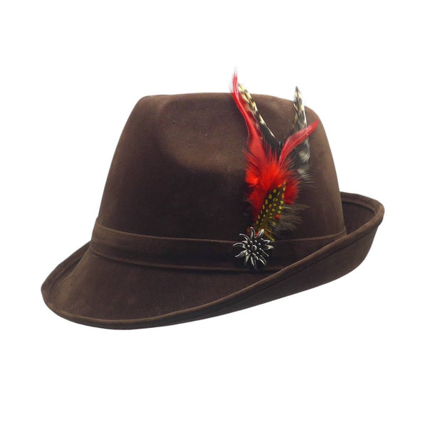 """German Hunter"" Brown Hat Fedora With Edelweiss & Feather - GermanGiftOutlet.com"