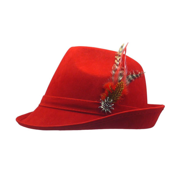 """German Hunter"" Red Hat Fedora with Edelweiss & Feather - GermanGiftOutlet.com"