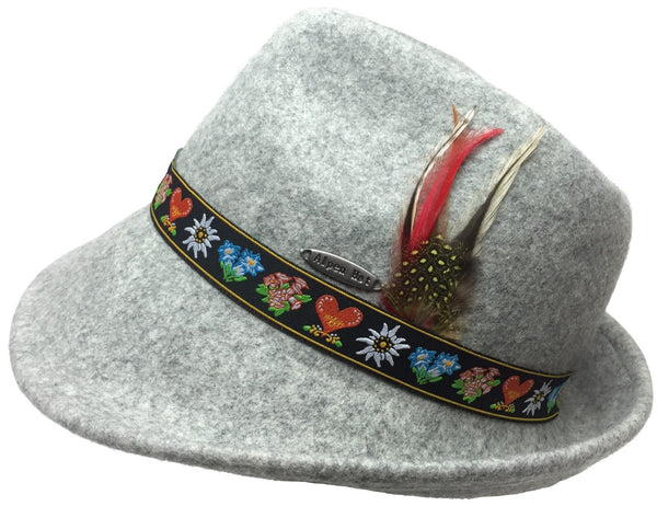 Alpine Wool Gray Hat with Embroidered Band - GermanGiftOutlet.com  - 1