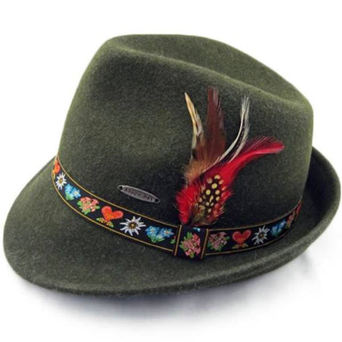 German Alpine Green 100% Genuine Wool Hat - GermanGiftOutlet.com  - 1