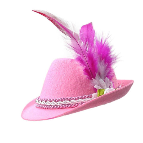 Mini Pink Bavarian Felt Hat Oktoberfest Costume Idea - GermanGiftOutlet.com
