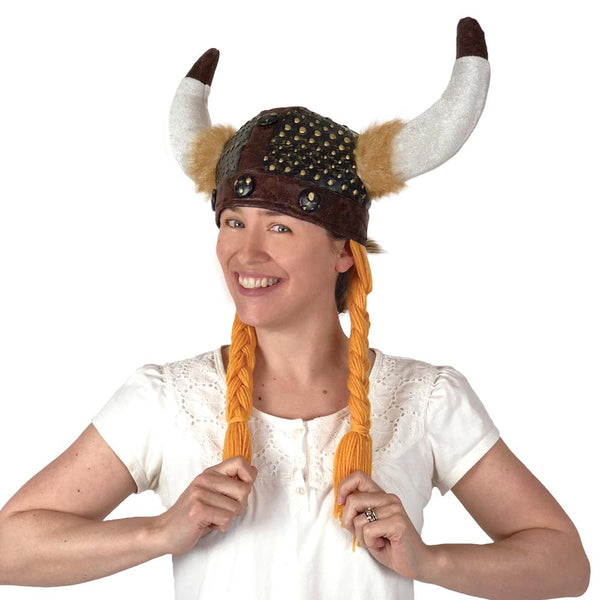 Viking Costume Black Cloth Helmet Hat with Braids