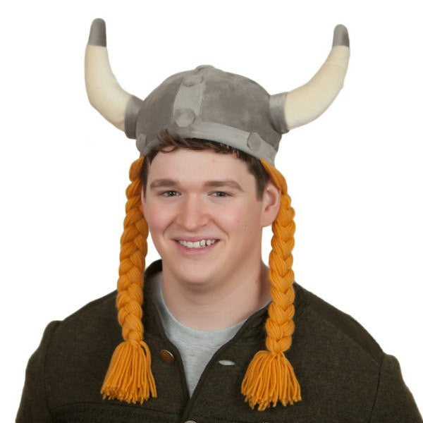 Hat: Cloth Viking Helmet with Braids - GermanGiftOutlet.com