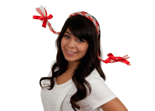 Oktoberfest Costume Braids With Functioning Blinking Lights Red - GermanGiftOutlet.com