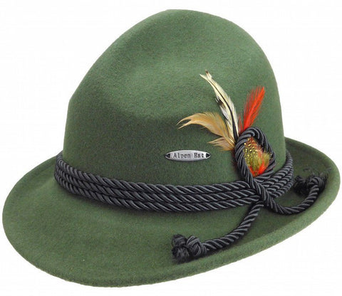 German Bavarian Style Green 100% Wool Hat - GermanGiftOutlet.com  - 1