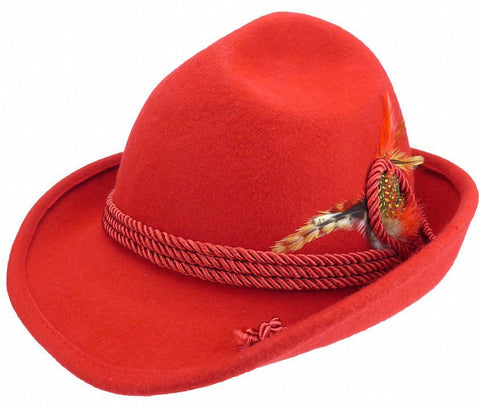German Bavarian Style Red 100% Wool Hat - GermanGiftOutlet.com  - 1