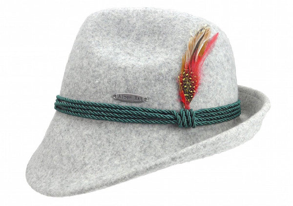 German Alpine Style Gray 100% Wool Hat - GermanGiftOutlet.com  - 1