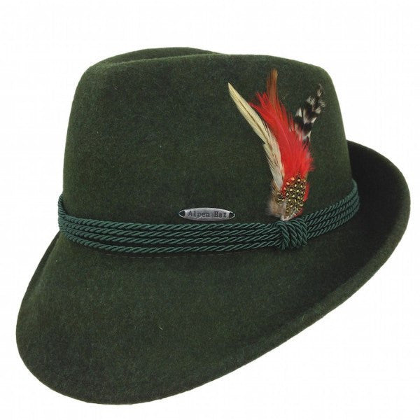 Traditional German Wedding Gifts: German Alpine Style Green 100% Wool Hat