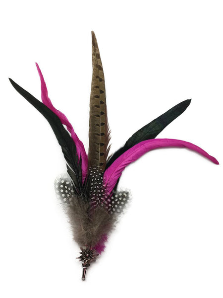 Deluxe German themed Hat Pin w/ Purple & Brown Feathers - GermanGiftOutlet.com