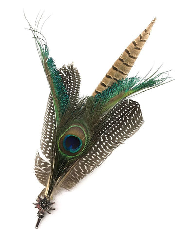 Deluxe German themed Hat Pin with Peacock Feathers - GermanGiftOutlet.com