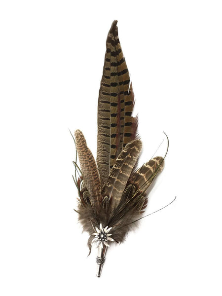Deluxe German themed Hat Pin w/ Brown colored Feathers - GermanGiftOutlet.com