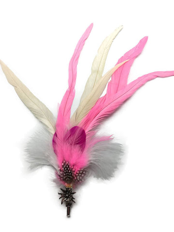 Deluxe German themed Hat Pin with Pink & White Feathers - GermanGiftOutlet.com