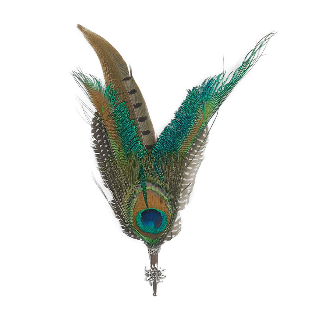 67580f4a4bf Peacock Pheasant Hat Feathers with Edelweiss Medallion Hunter Hat Pin -1