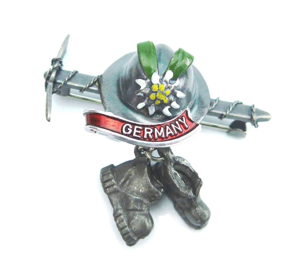German Hat Pin: Ice Axe & Hiking Boots - GermanGiftOutlet.com